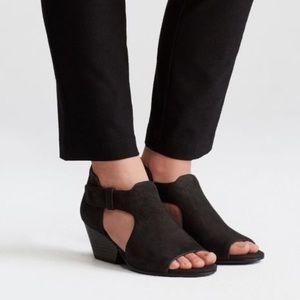 Eileen Fisher Black Suede Cutout Bootie Iris 10